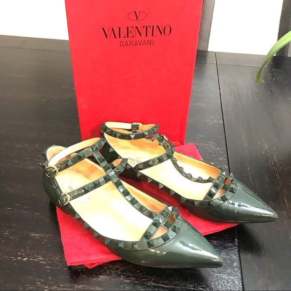 Valentino Shoes - {Valentino} Dark Green Caged Flats Size 40EUR